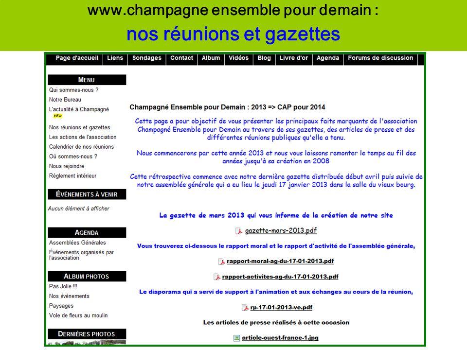 www.champagne ensemble pour demain : nos réunions et gazettes