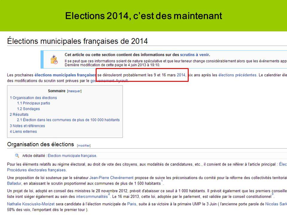 Elections 2014, c'est des maintenant