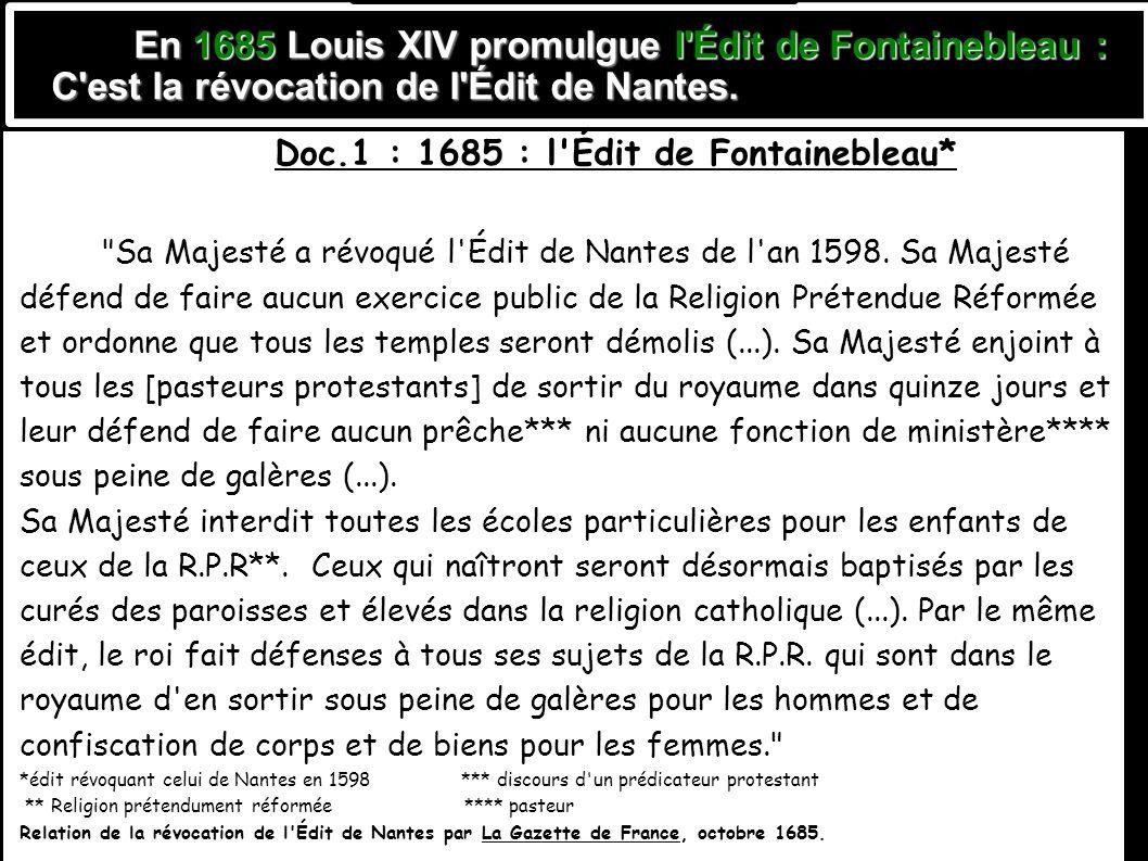 Doc.1 : 1685 : l Édit de Fontainebleau*