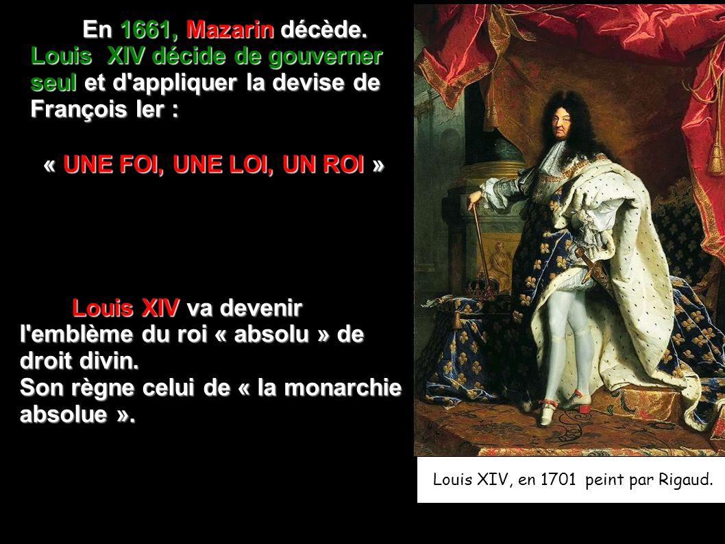 Louis XIV, en 1701 peint par Rigaud.