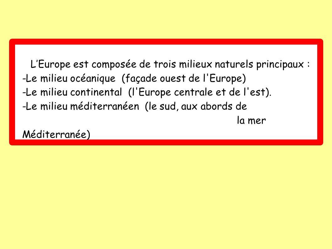 L'Europe est composée de trois milieux naturels principaux :