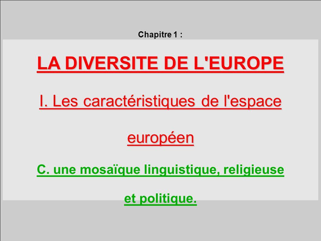LA DIVERSITE DE L EUROPE C. une mosaïque linguistique, religieuse
