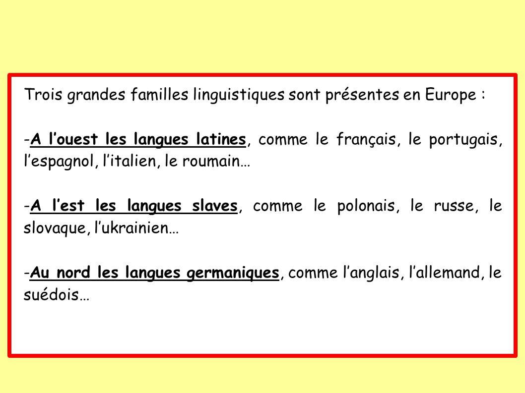 Trois grandes familles linguistiques sont présentes en Europe :