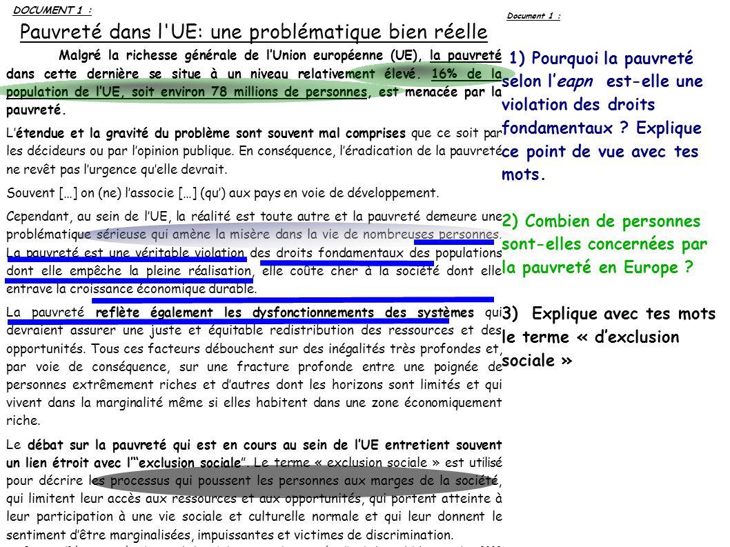 Pauvreté dans l UE: une problématique bien réelle