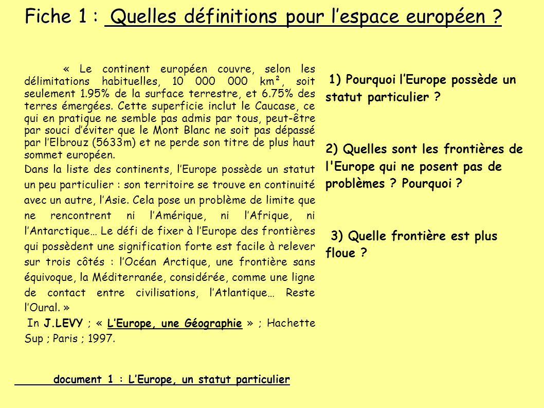 Fiche 1 : Quelles définitions pour l'espace européen