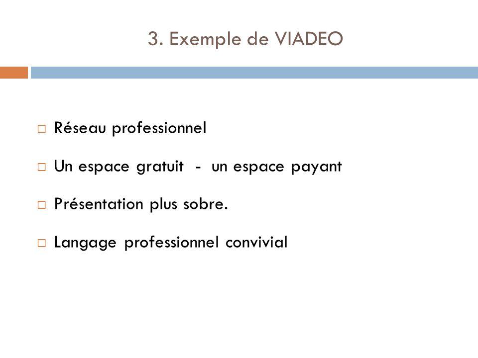 3. Exemple de VIADEO Réseau professionnel