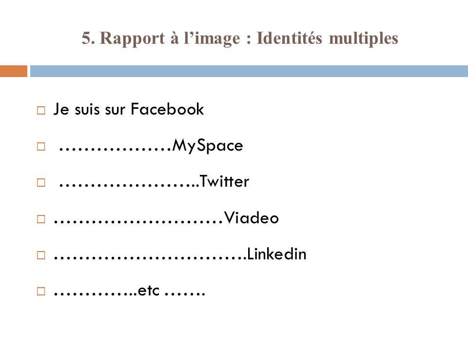 5. Rapport à l'image : Identités multiples