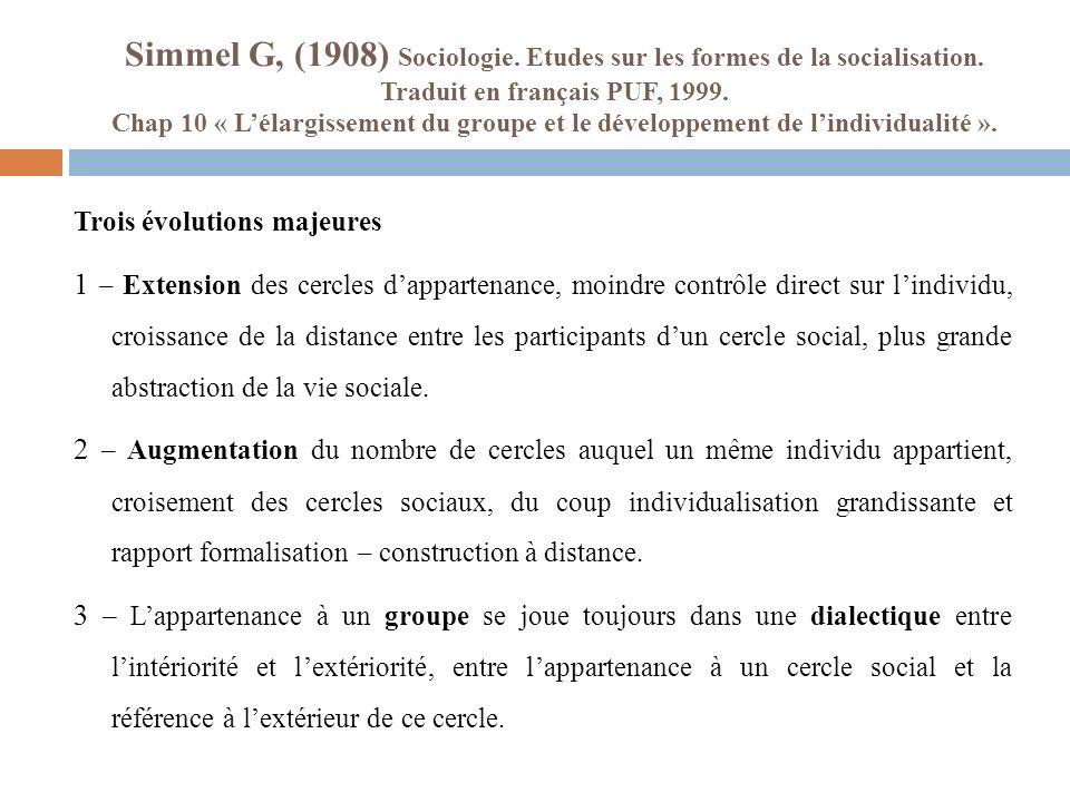 Simmel G, (1908) Sociologie. Etudes sur les formes de la socialisation