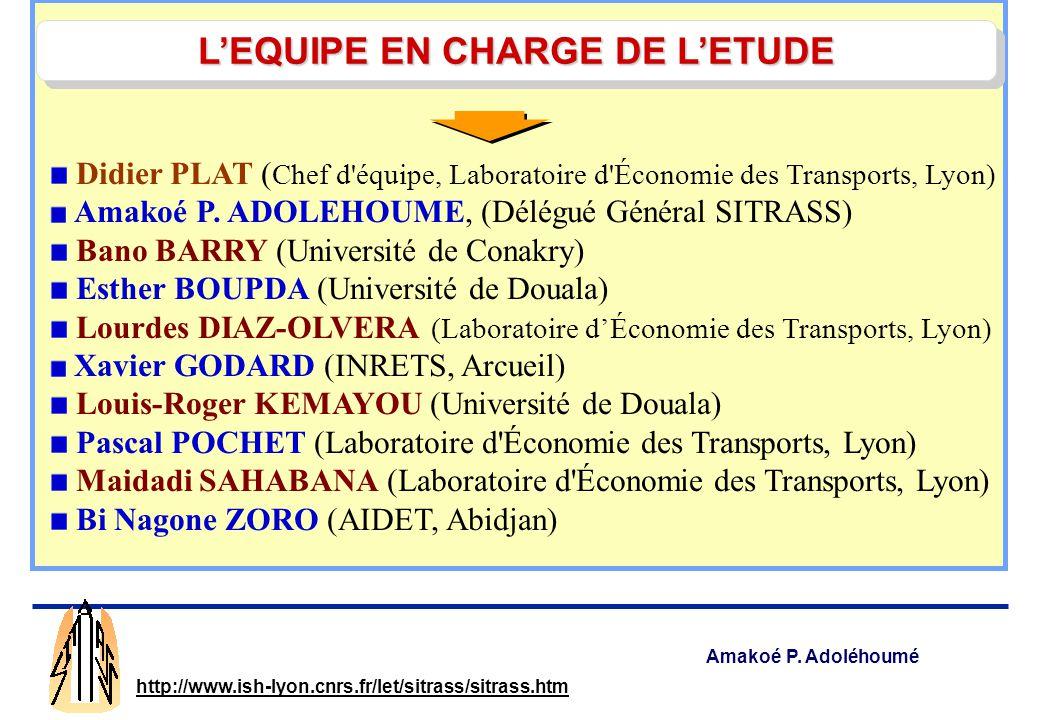 L'EQUIPE EN CHARGE DE L'ETUDE