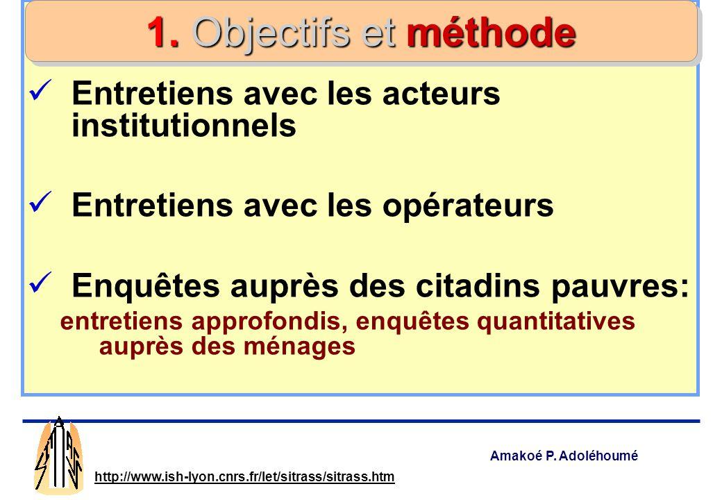 1. Objectifs et méthode Entretiens avec les acteurs institutionnels