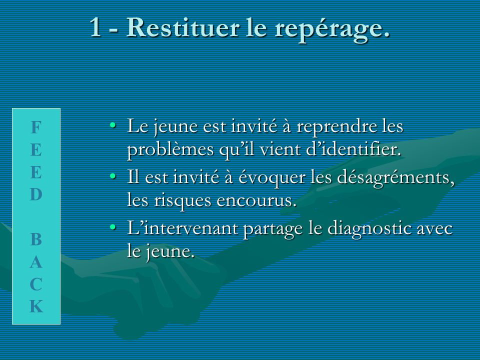 1 - Restituer le repérage.