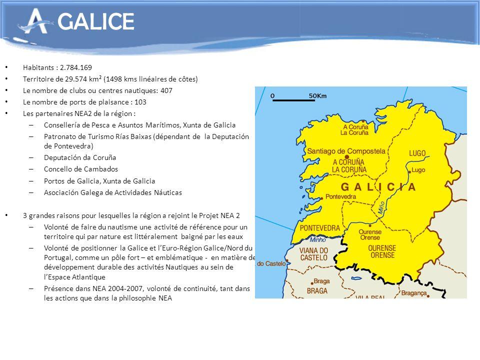 GALICEHabitants : 2.784.169. Territoire de 29.574 km² (1498 kms linéaires de côtes) Le nombre de clubs ou centres nautiques: 407.