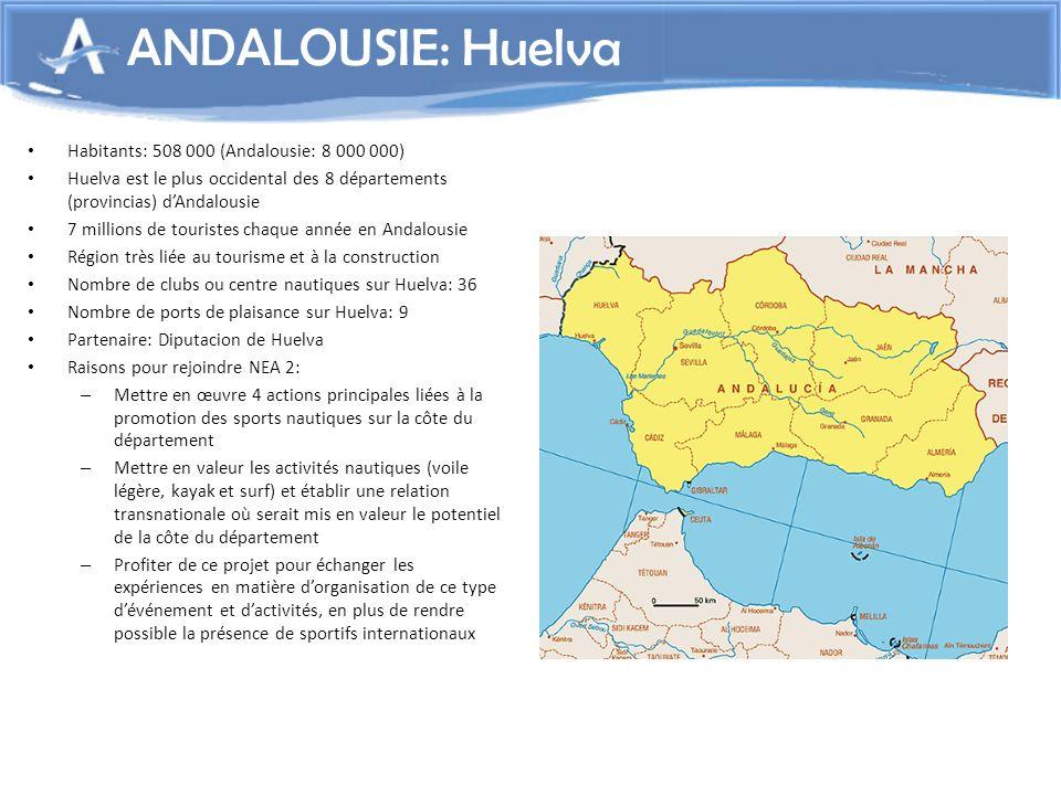 ANDALOUSIE: Huelva Habitants: 508 000 (Andalousie: 8 000 000)