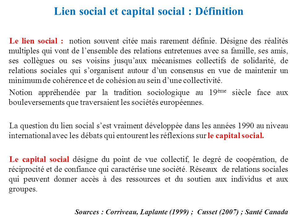 Lien social et capital social : Définition