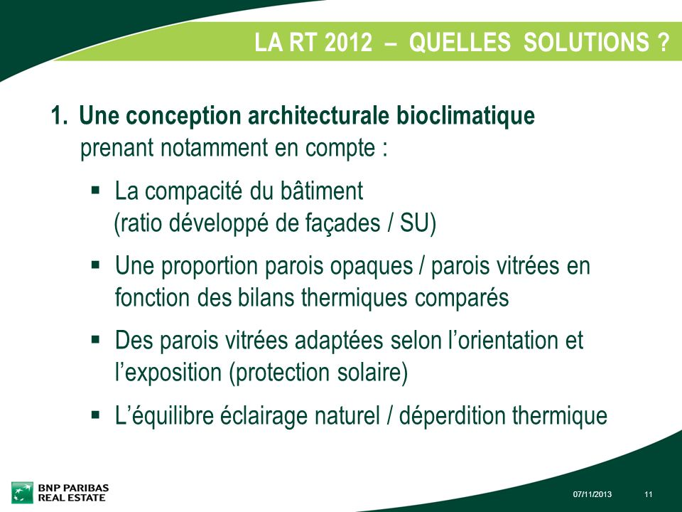 LA RT 2012 – QUELLES SOLUTIONS