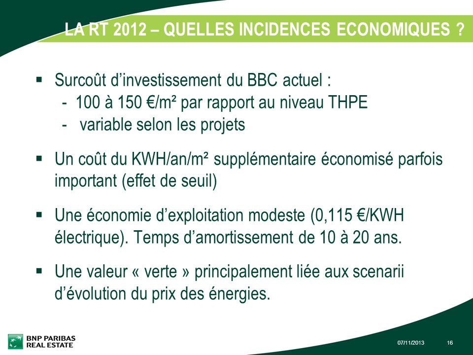 LA RT 2012 – QUELLES INCIDENCES ECONOMIQUES