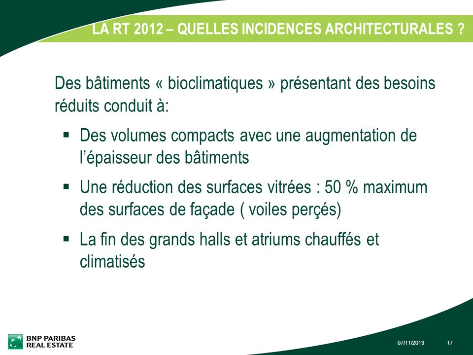 LA RT 2012 – QUELLES INCIDENCES ARCHITECTURALES