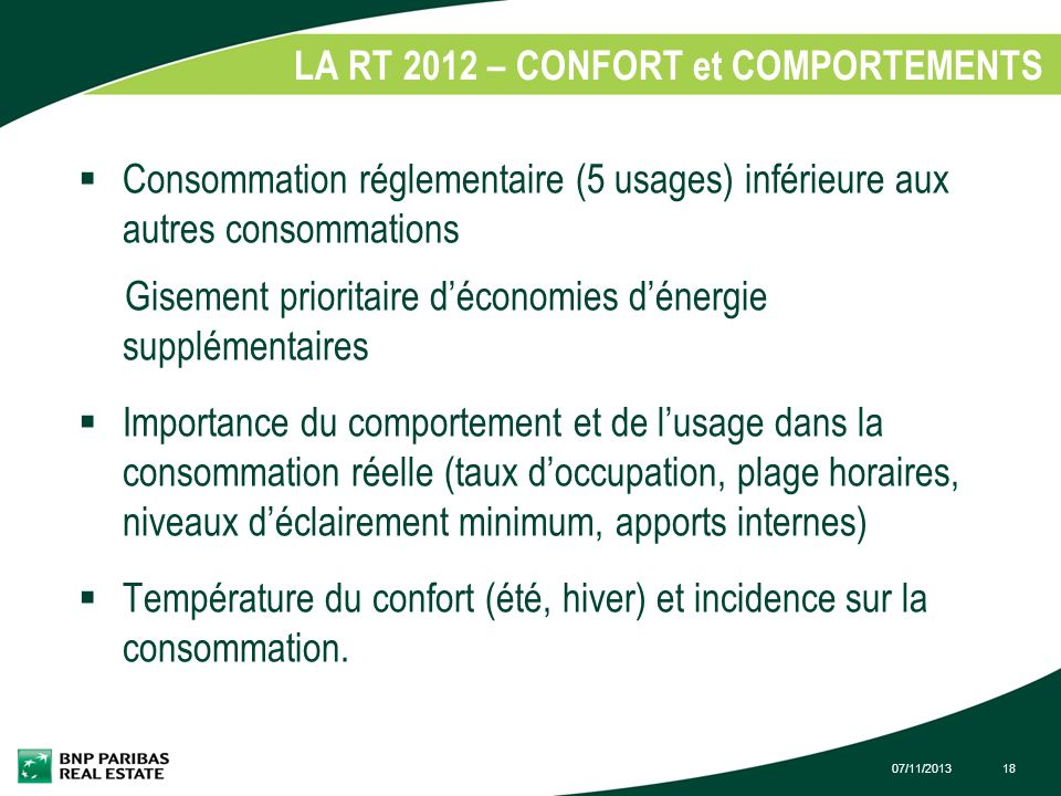 LA RT 2012 – CONFORT et COMPORTEMENTS