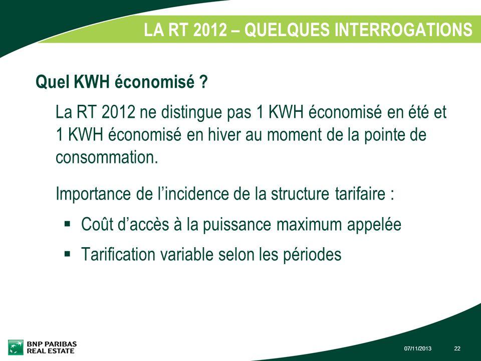LA RT 2012 – QUELQUES INTERROGATIONS