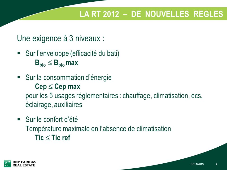 LA RT 2012 – DE NOUVELLES REGLES