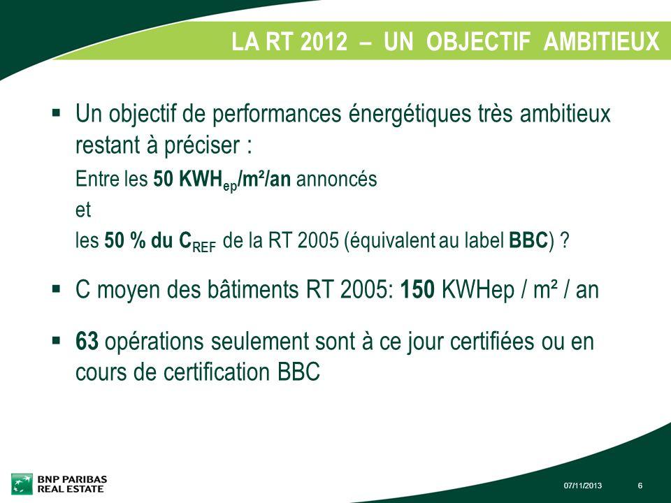 LA RT 2012 – UN OBJECTIF AMBITIEUX