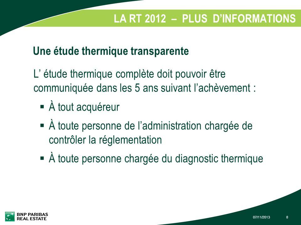 LA RT 2012 – PLUS D'INFORMATIONS