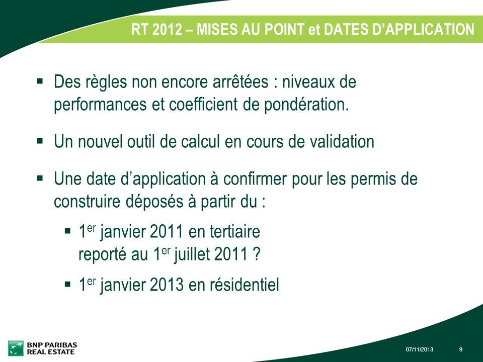 RT 2012 – MISES AU POINT et DATES D'APPLICATION