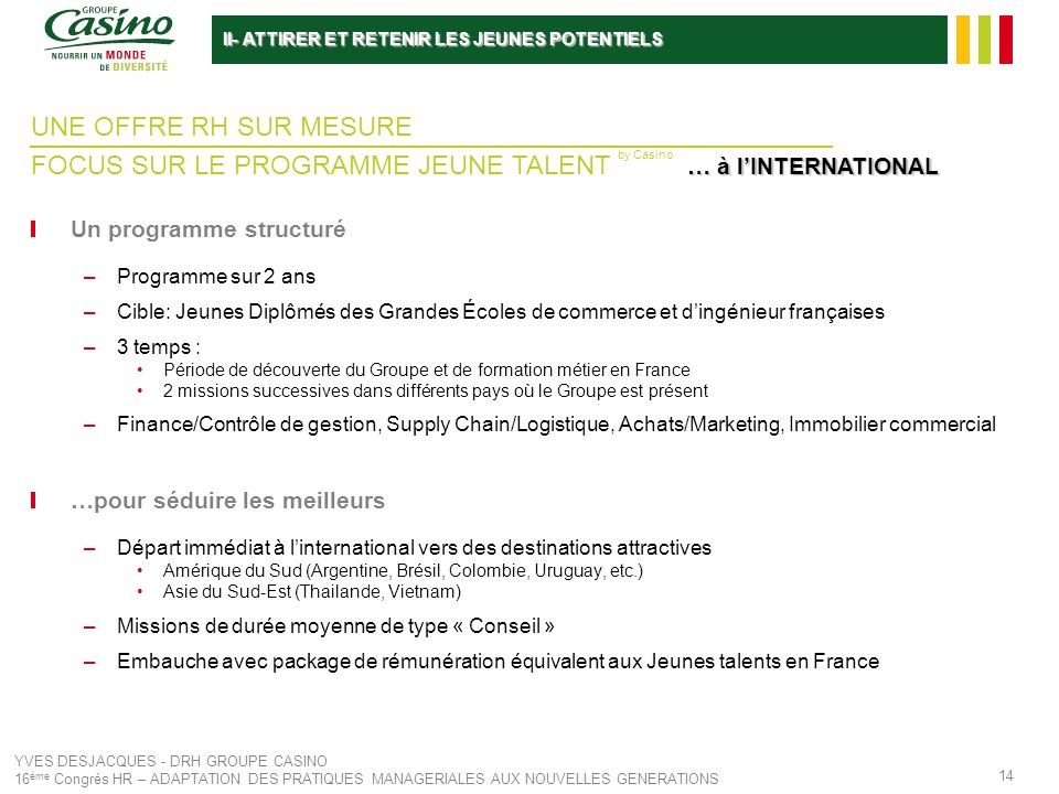 FOCUS SUR LE PROGRAMME JEUNE TALENT by Casino … à l'INTERNATIONAL