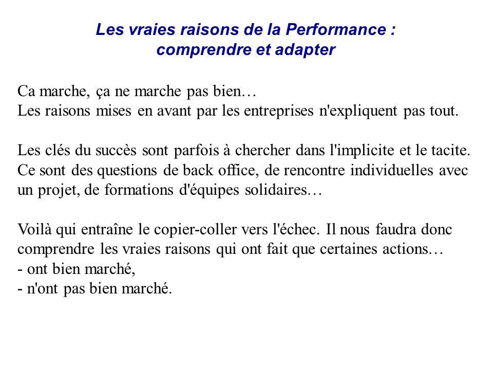 Les vraies raisons de la Performance : comprendre et adapter