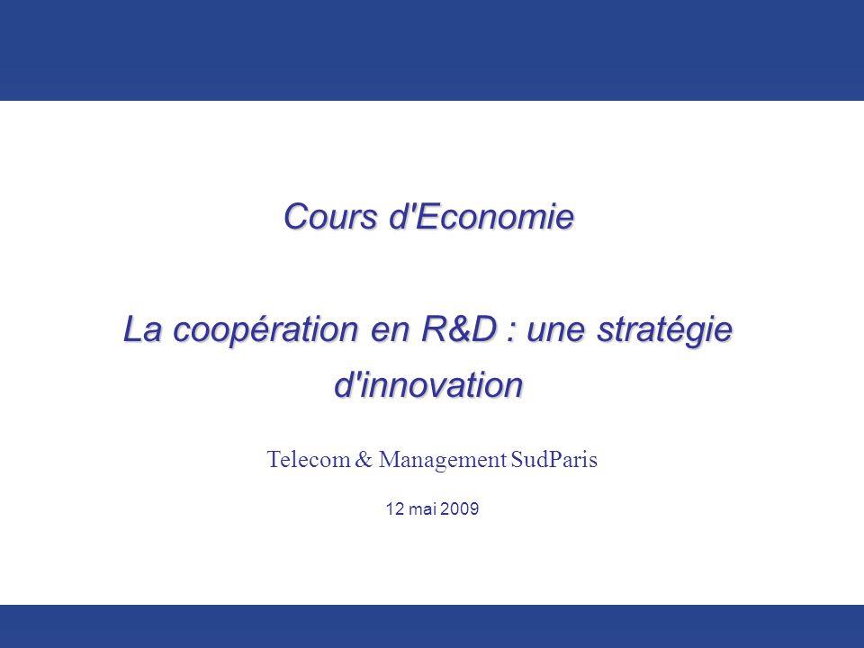 Cours d Economie La coopération en R&D : une stratégie d innovation