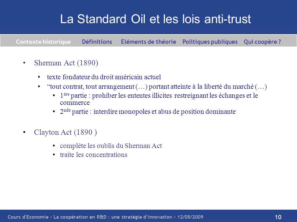 La Standard Oil et les lois anti-trust