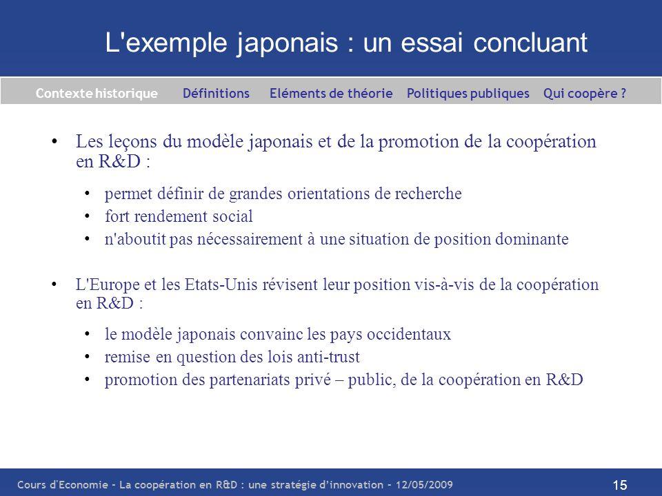 L exemple japonais : un essai concluant