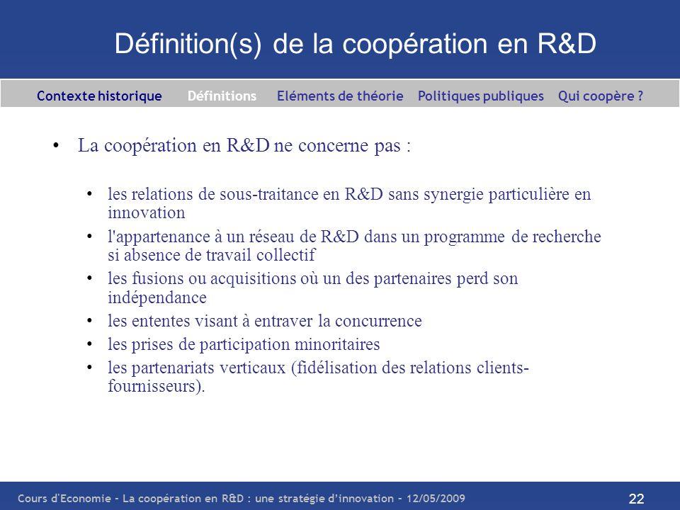 Définition(s) de la coopération en R&D