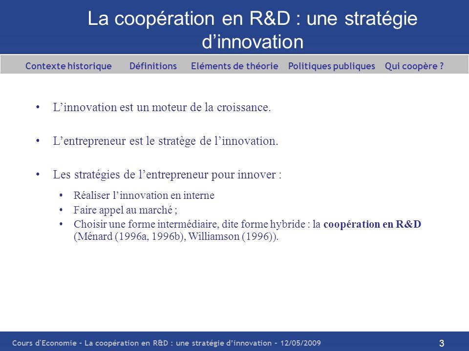 La coopération en R&D : une stratégie d'innovation
