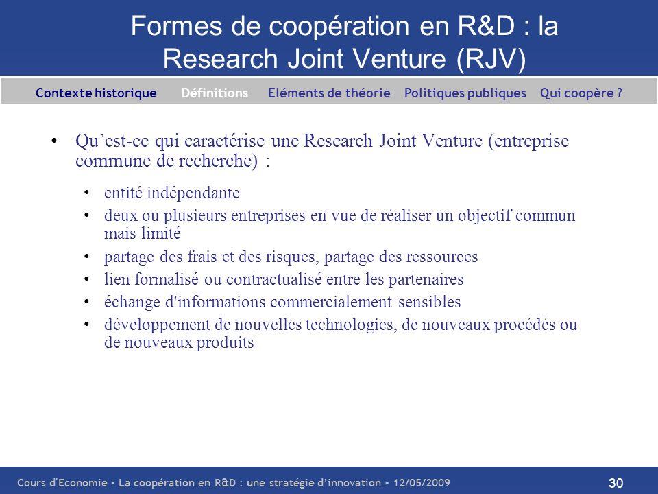 Formes de coopération en R&D : la Research Joint Venture (RJV)