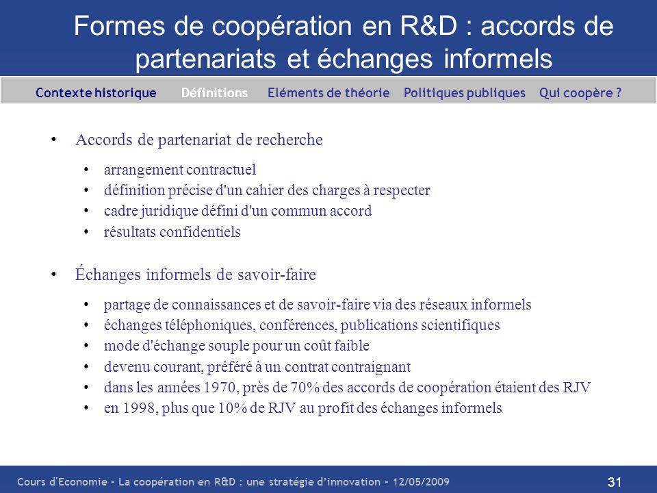 Formes de coopération en R&D : accords de partenariats et échanges informels