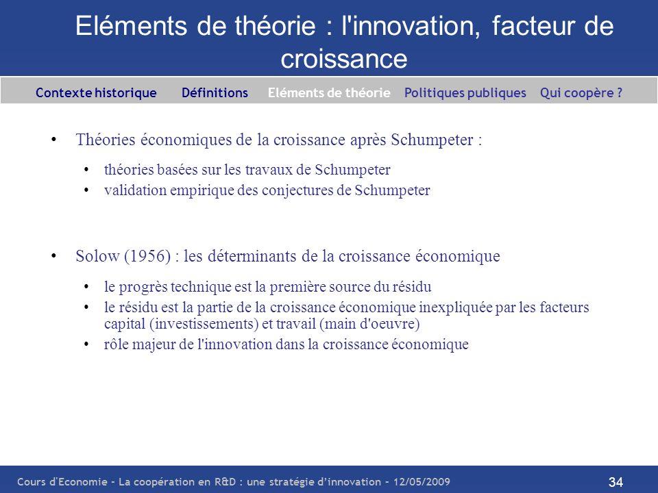 Eléments de théorie : l innovation, facteur de croissance