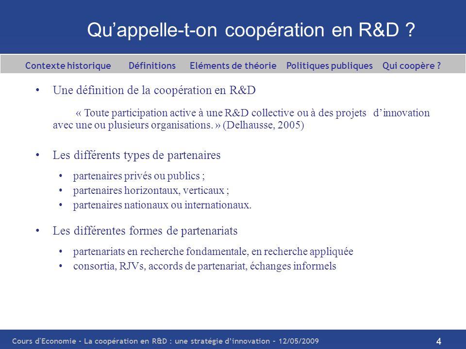 Qu'appelle-t-on coopération en R&D