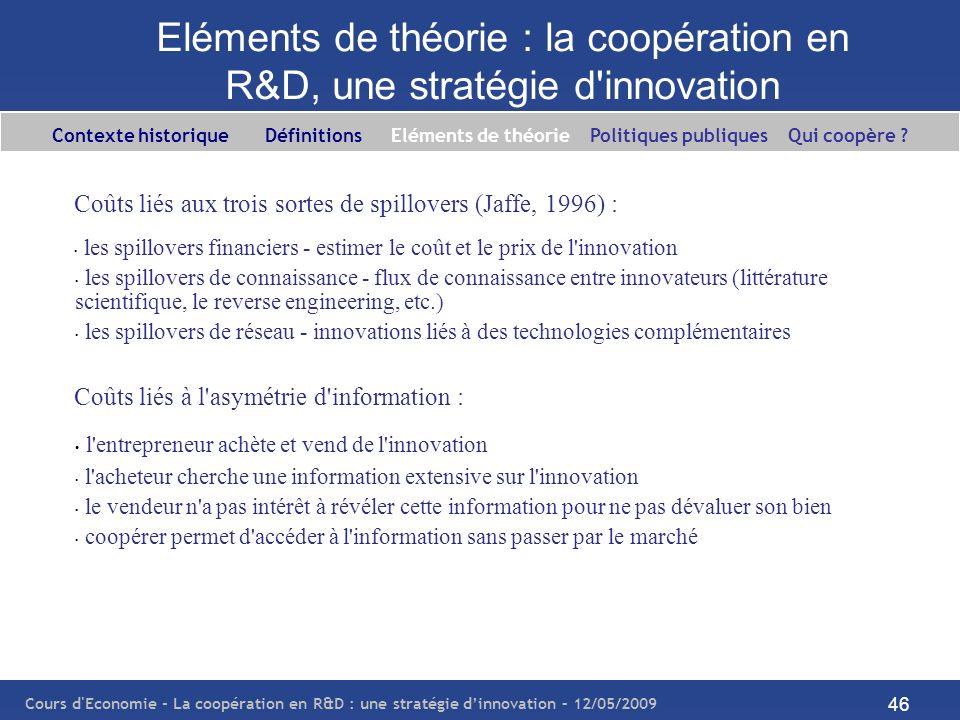 Eléments de théorie : la coopération en R&D, une stratégie d innovation