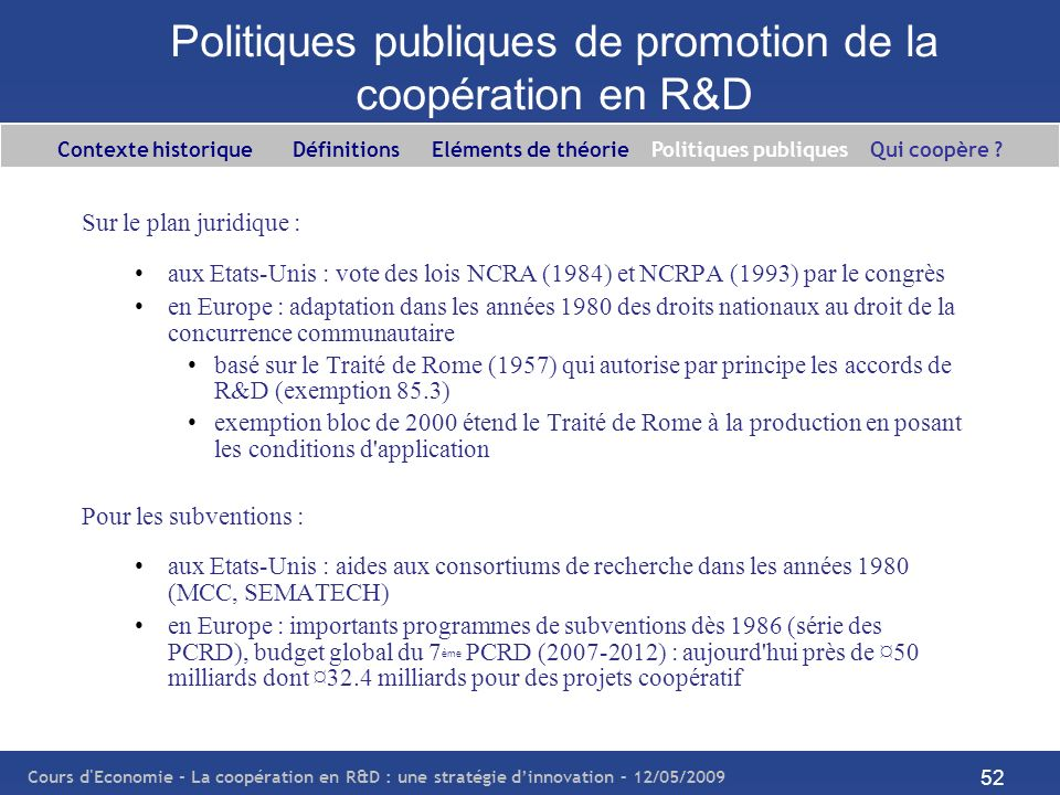 Politiques publiques de promotion de la coopération en R&D