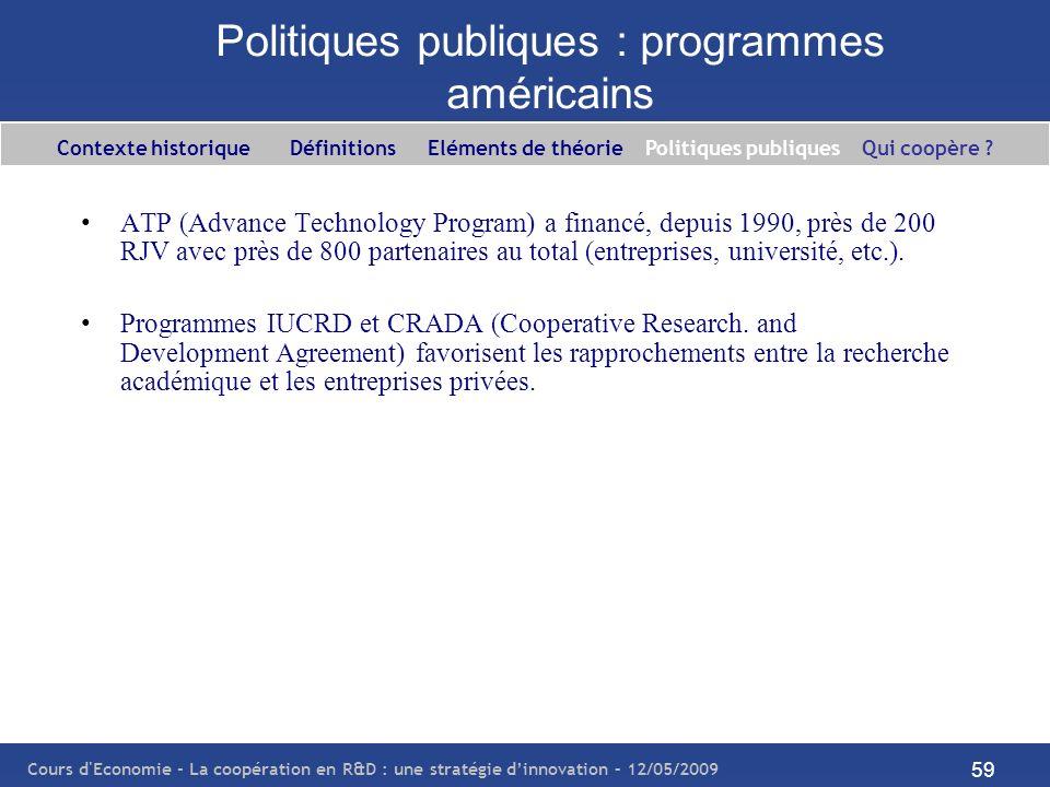 Politiques publiques : programmes américains