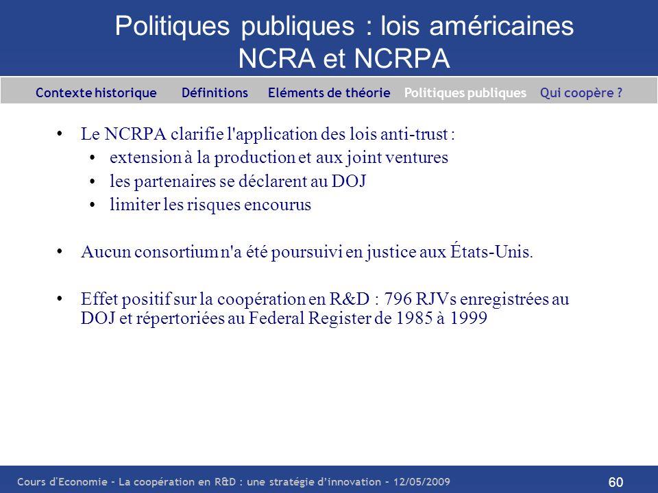 Politiques publiques : lois américaines NCRA et NCRPA