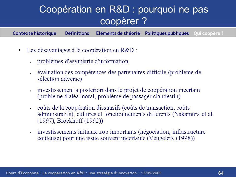 Coopération en R&D : pourquoi ne pas coopèrer