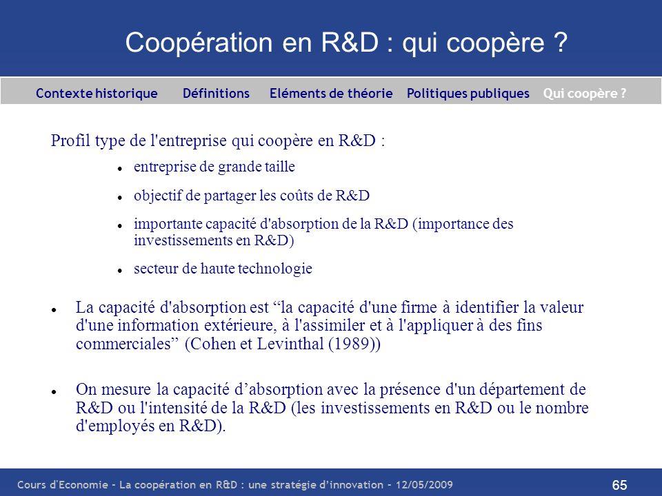 Coopération en R&D : qui coopère