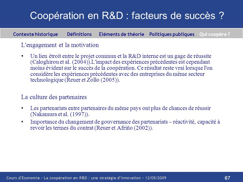 Coopération en R&D : facteurs de succès