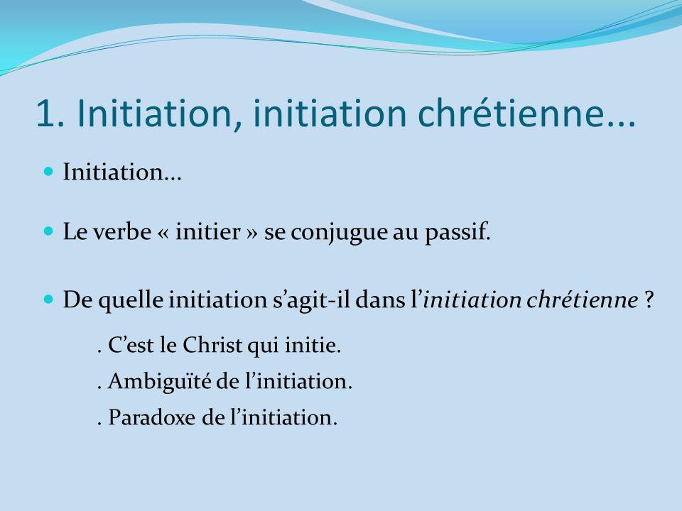 1. Initiation, initiation chrétienne...