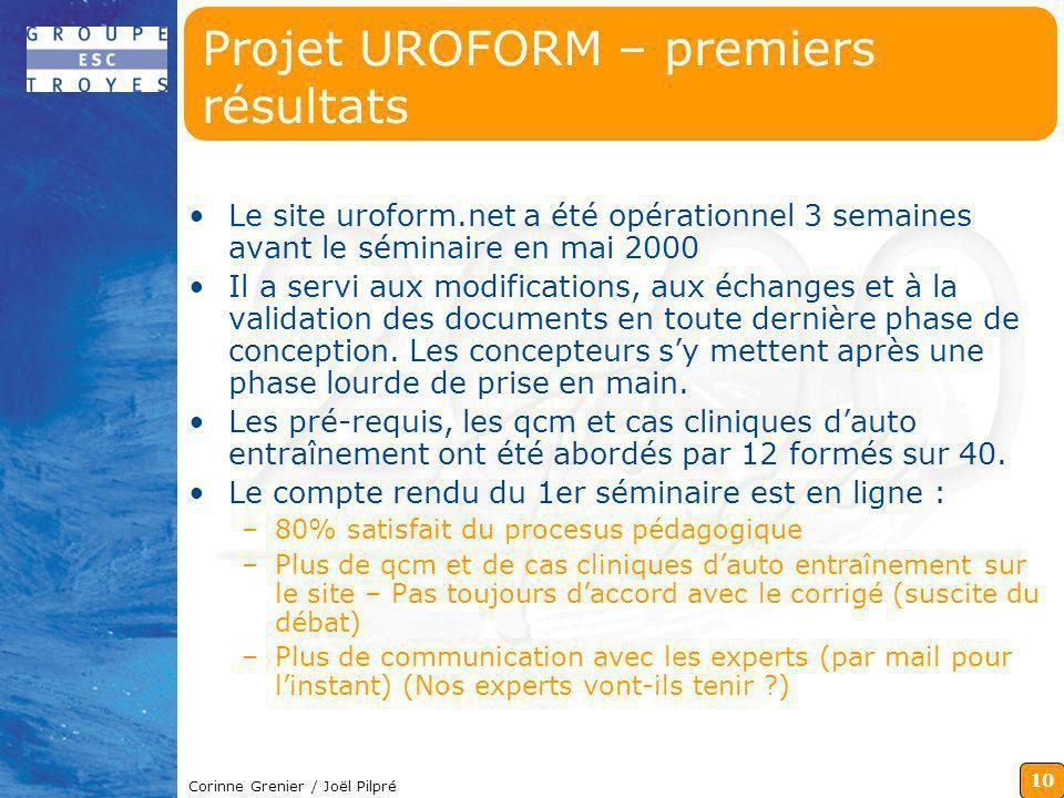 Projet UROFORM – premiers résultats
