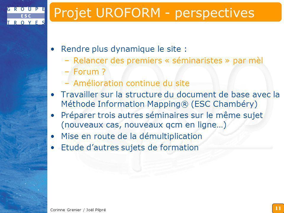 Projet UROFORM - perspectives