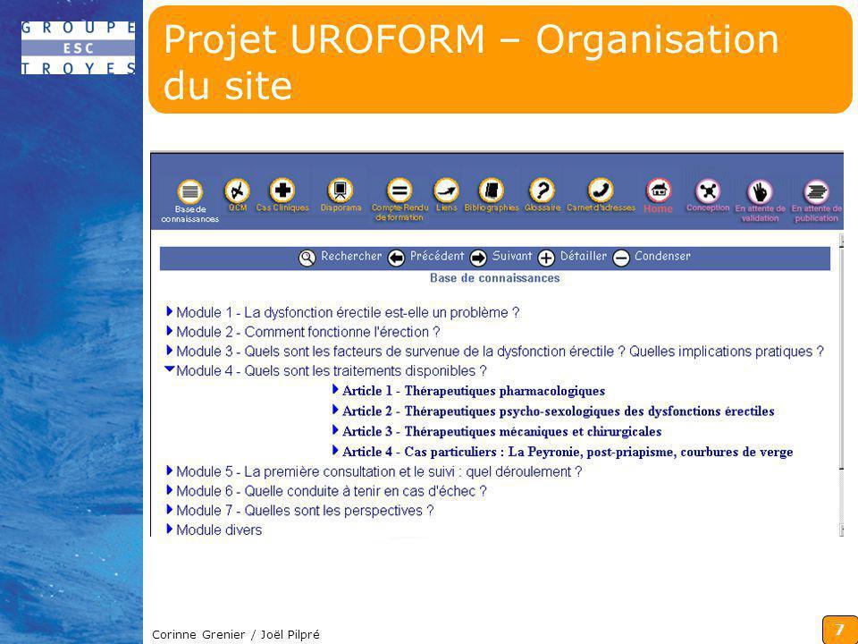 Projet UROFORM – Organisation du site