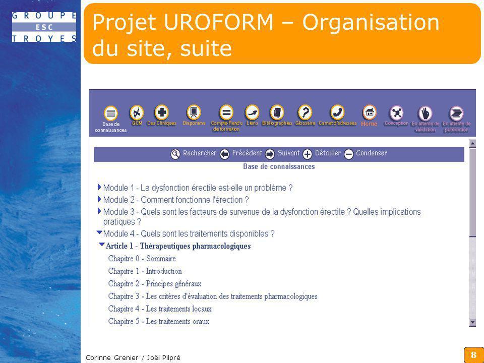 Projet UROFORM – Organisation du site, suite